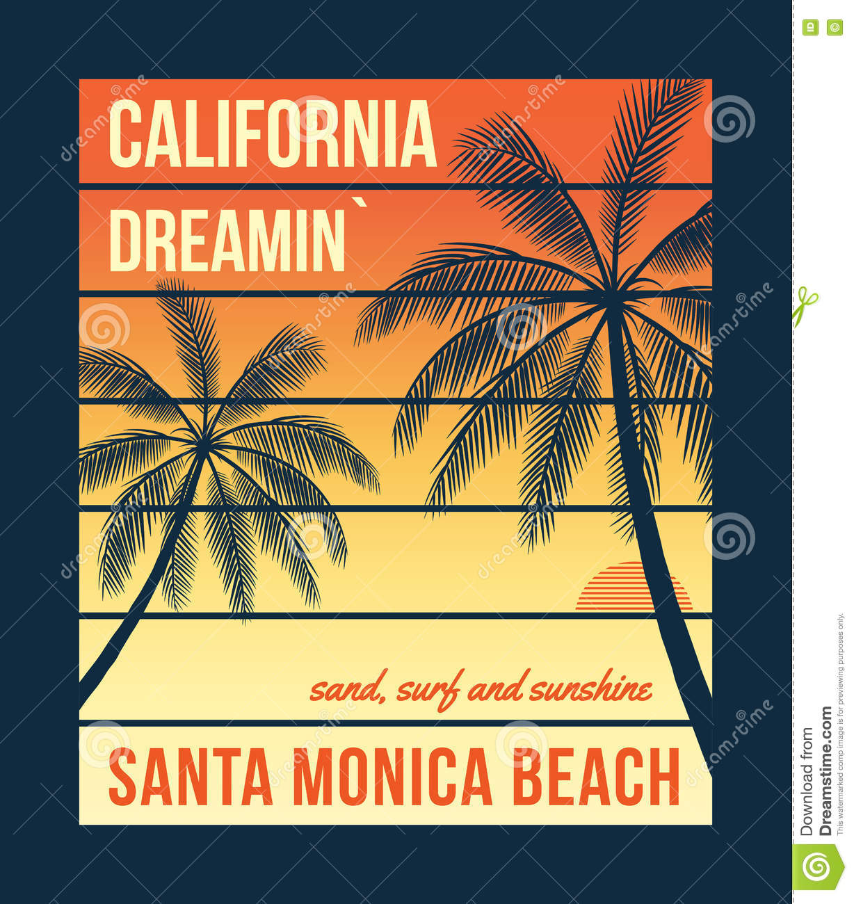 California T Shirt Graphics With Palms T Shirt Design Print