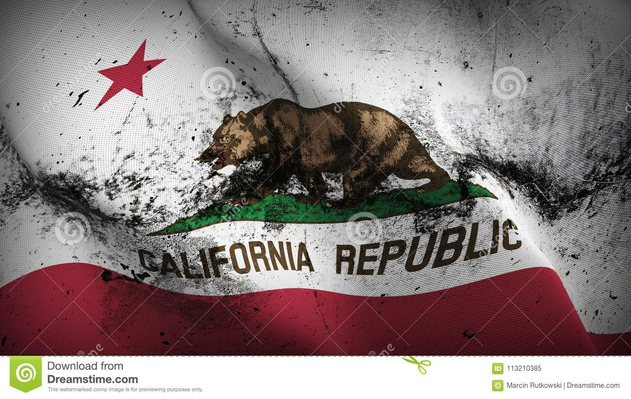 Download California US State Grunge Dirty Flag Waving On Wind Stock Illustration