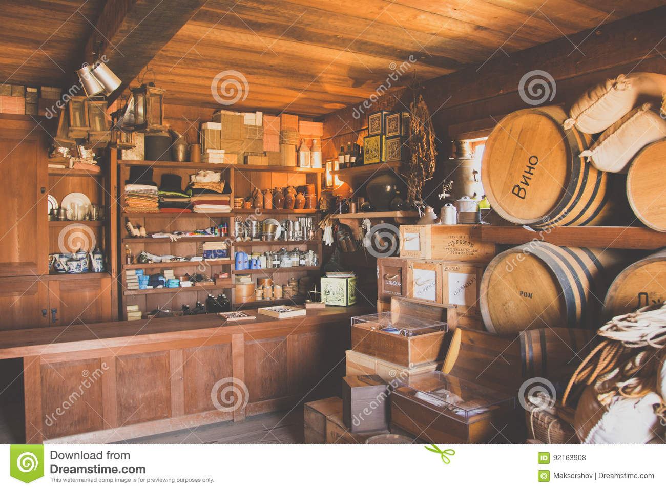 California, USA - June 17, 2015: An old shop in the wild west in California