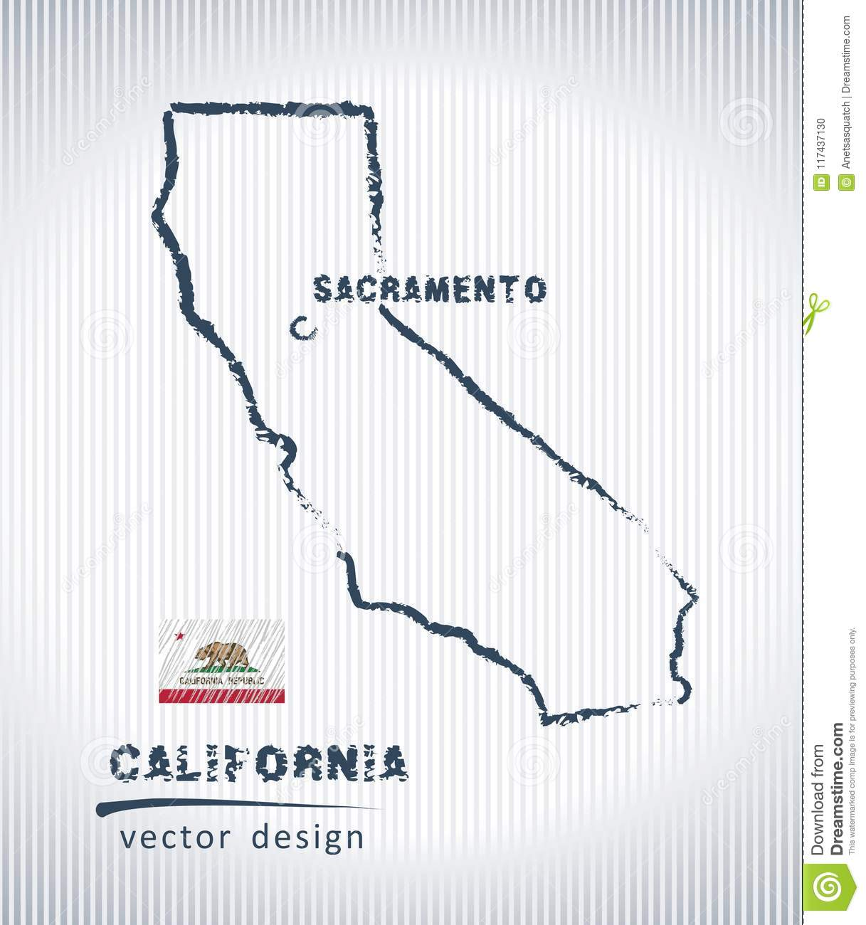 Vector Sketch Map Of California With Flag Hand Drawn Chalk Illustration Grunge Design