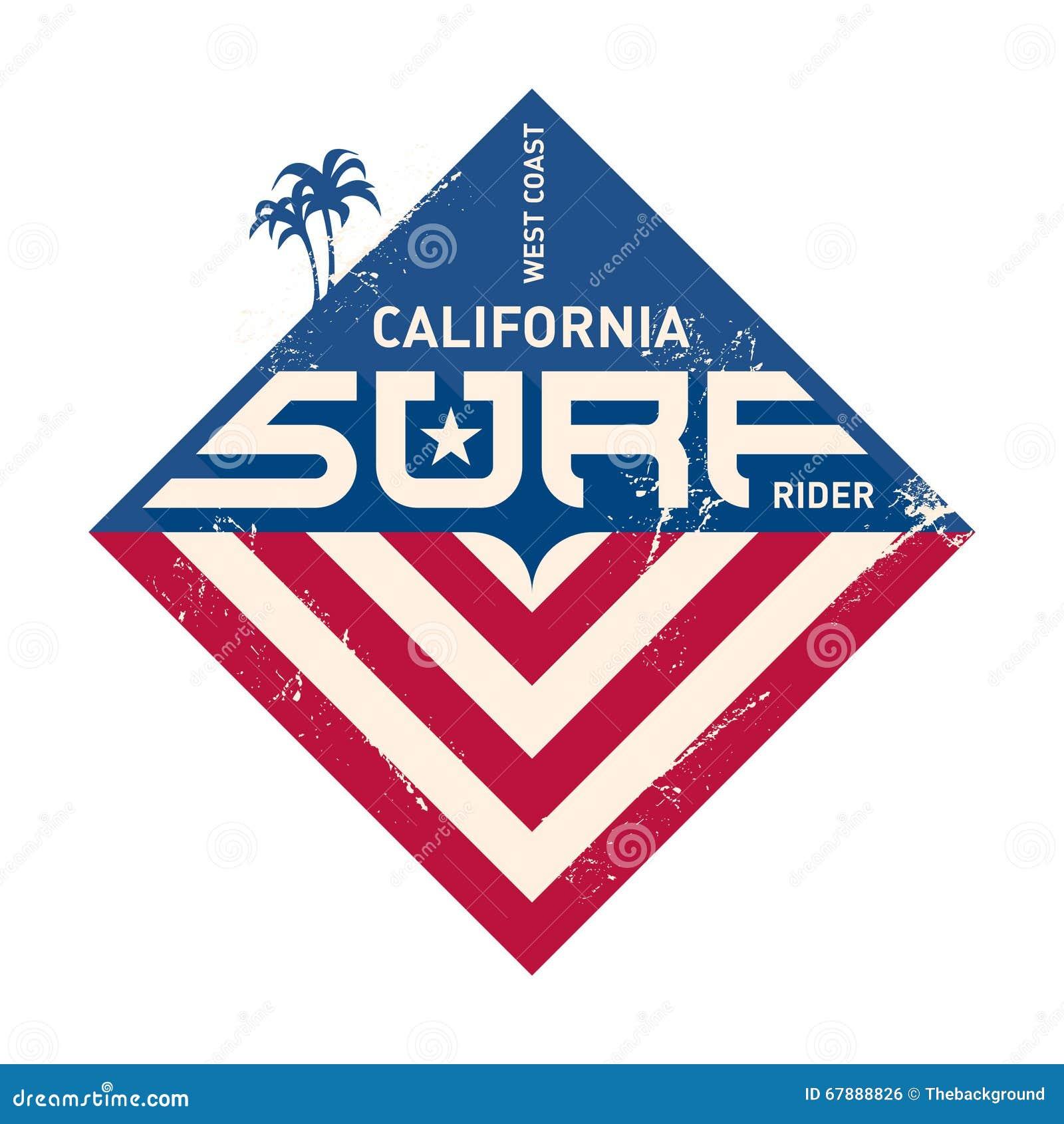california west coast surfers pacific ocean team vector illust
