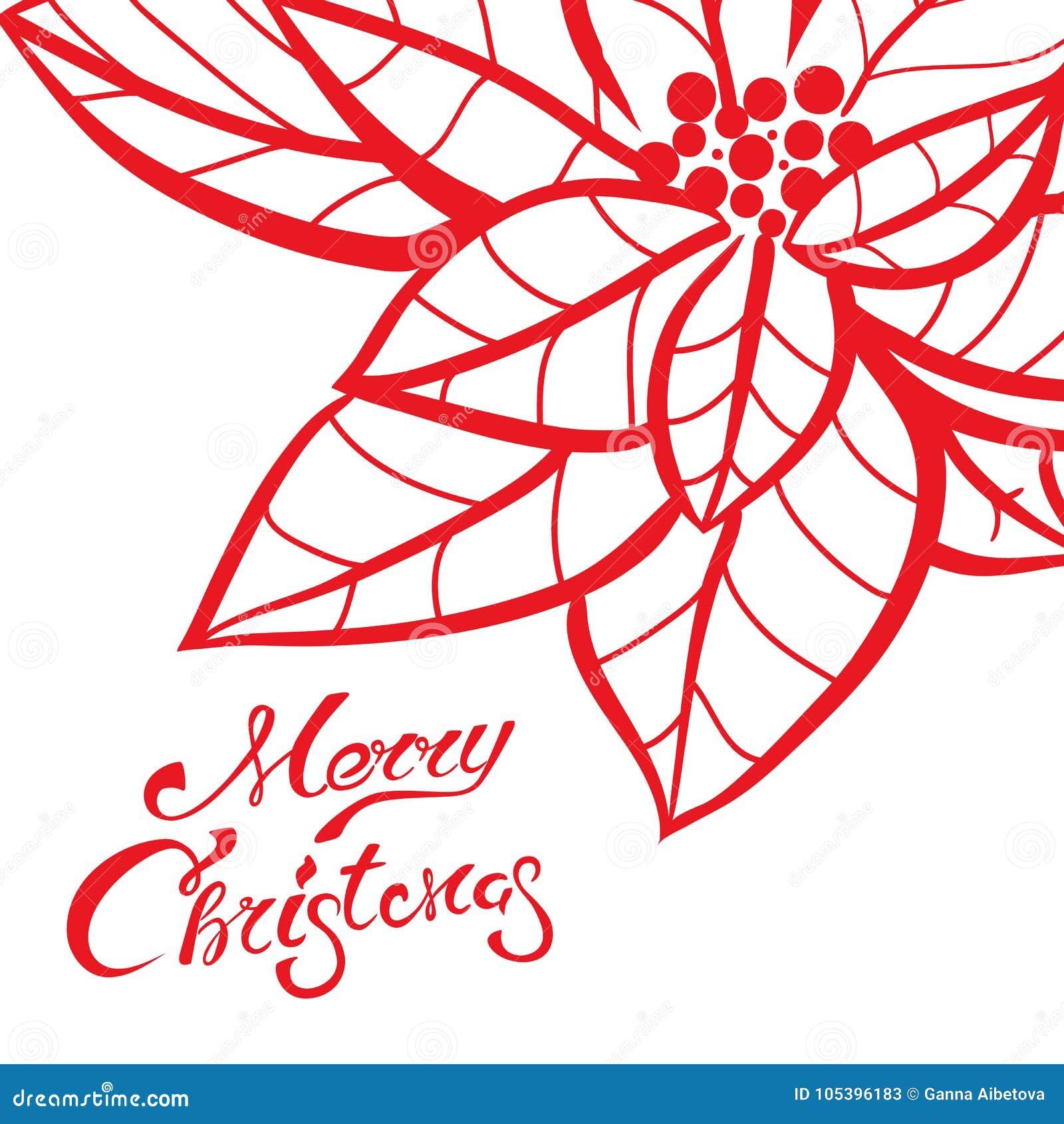 Caligrafía De Las Letras De La Navidad En Plantilla De La Tarjeta De ...