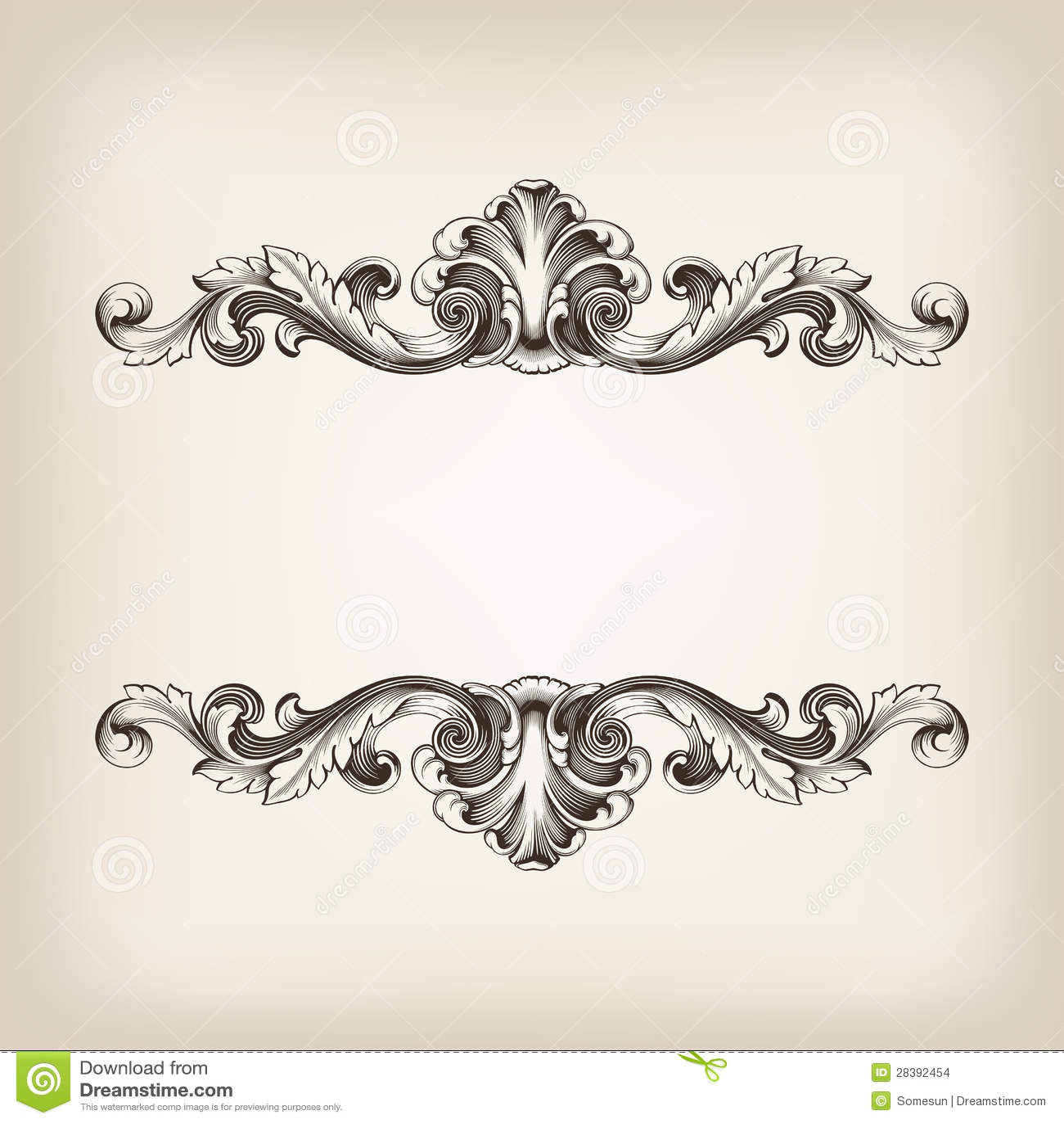 Caligrafía del marco de la frontera del vintage que graba vector barroco