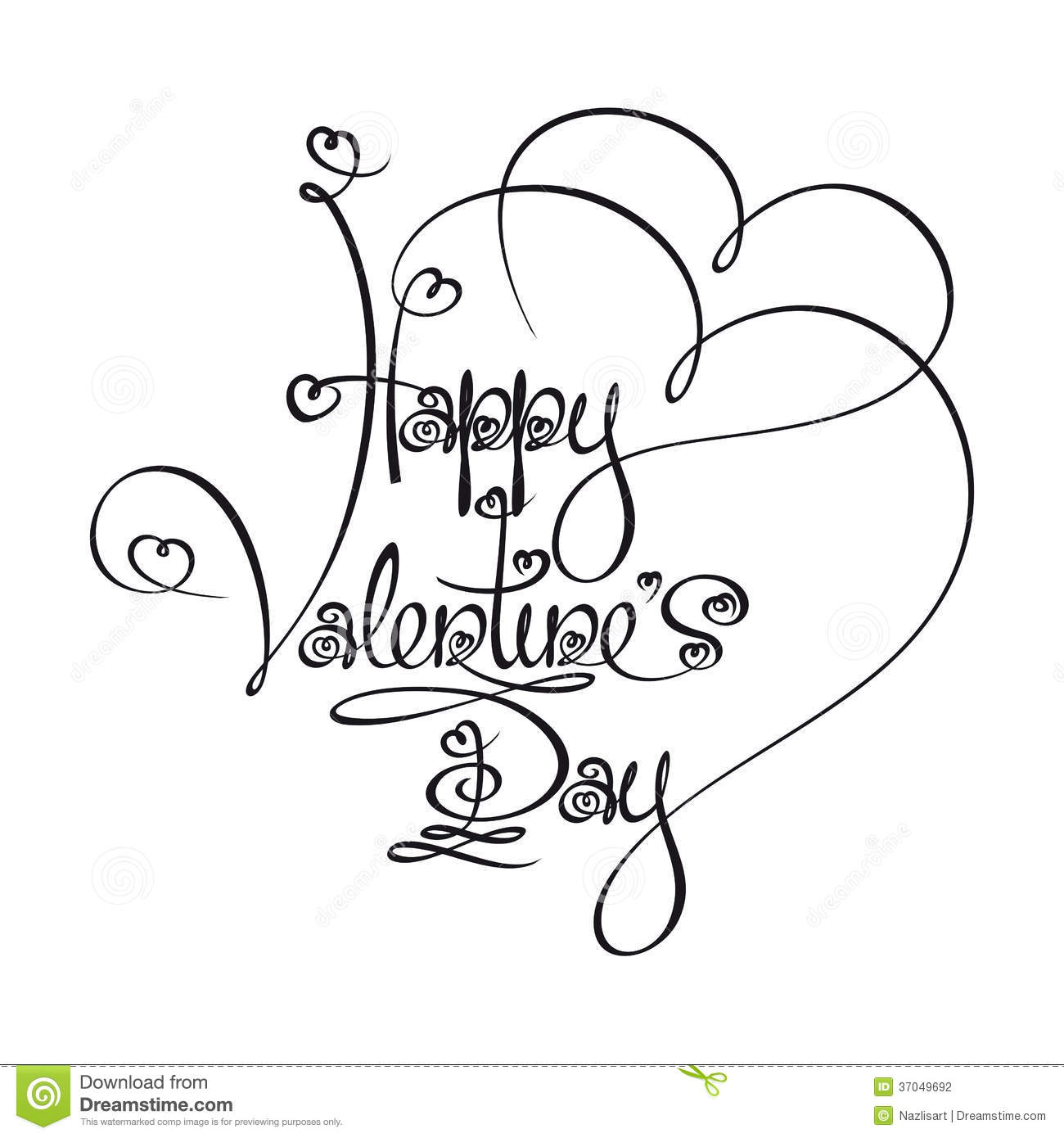 Line Art Font : Caligraphic text happy valentines day stock vector