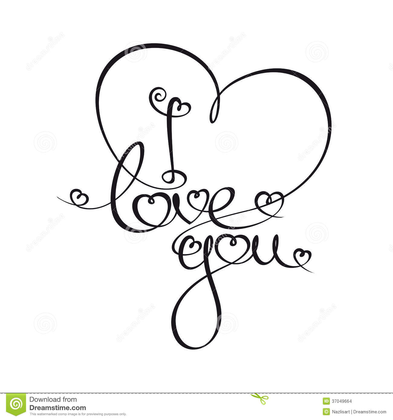 Line Art Font : Caligraphic text i love you stock vector illustration