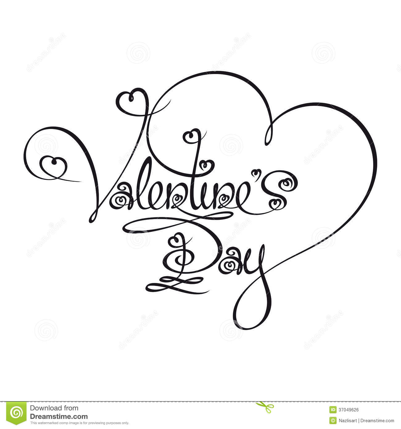 Line Drawing Valentine : Caligraphic text valentines day royalty free stock image