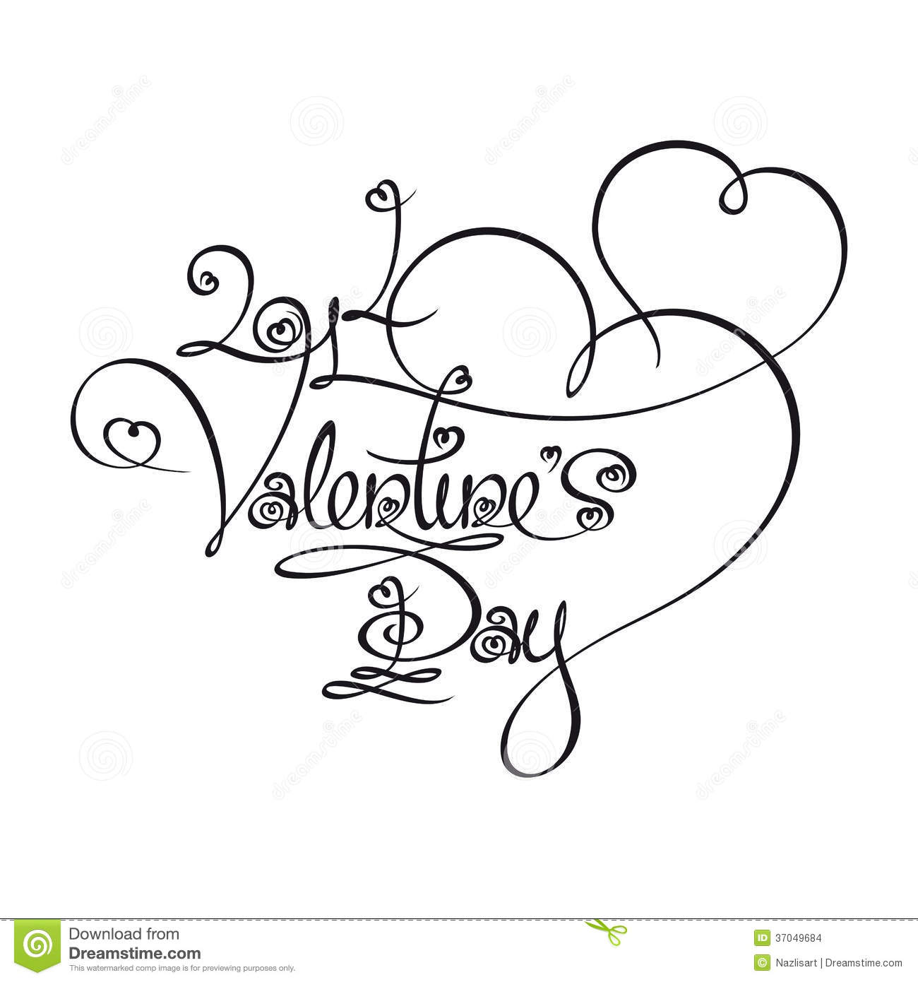 Caligraphic Text Valentines Day 2014 Stock Images Image