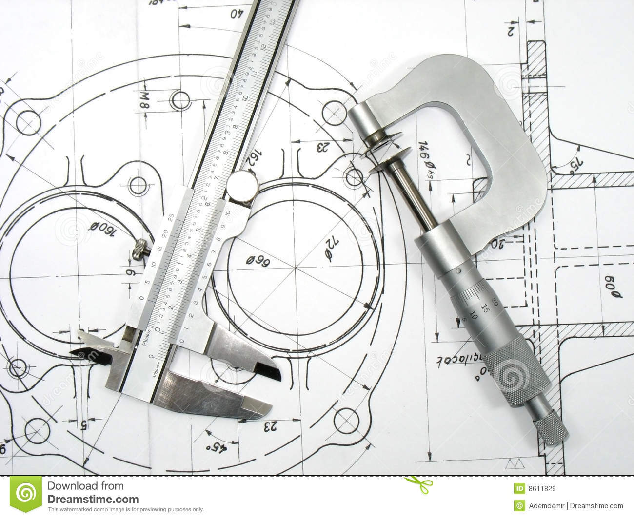 Caliper and Micrometer on technical drawings