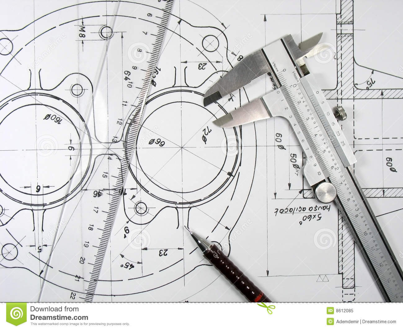 Caliper Ruler And Pencil On Technical Drawings Stock