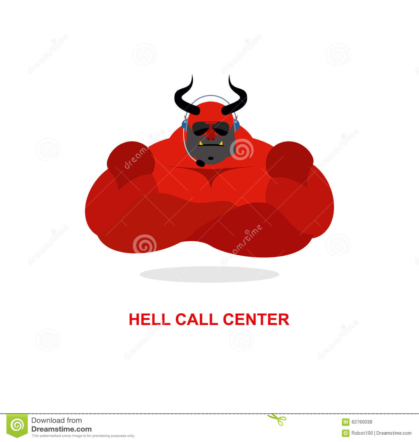 Call center dell inferno Satana con la cuffia avricolare Il diavolo risponde per telefonare il Ca