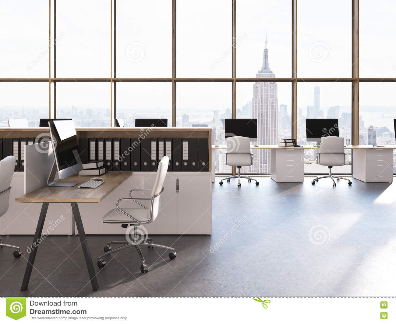 Call Center Interior In New York Stock Illustration Illustration