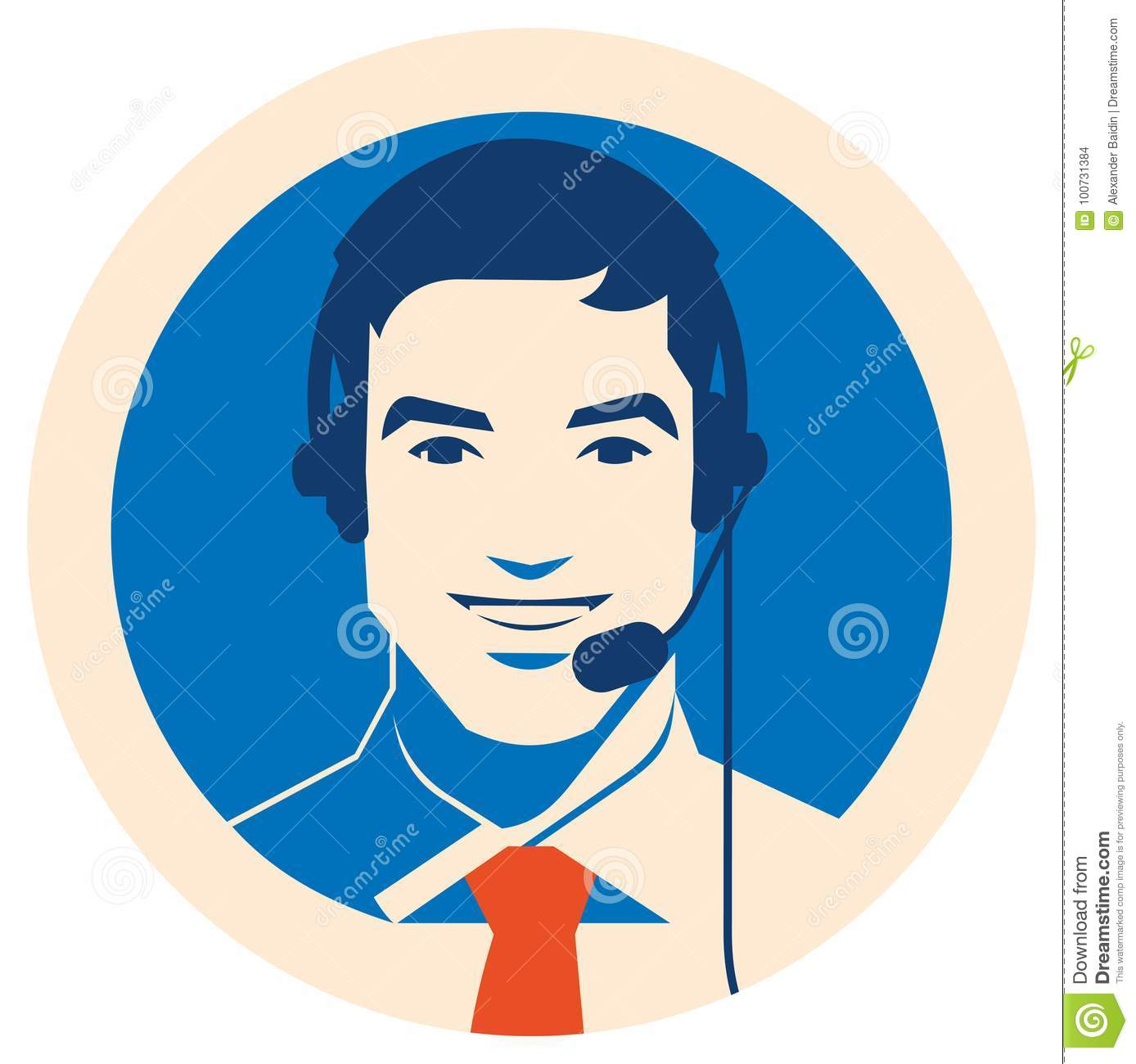 Call Center Operator With Headset Icon. Client Services