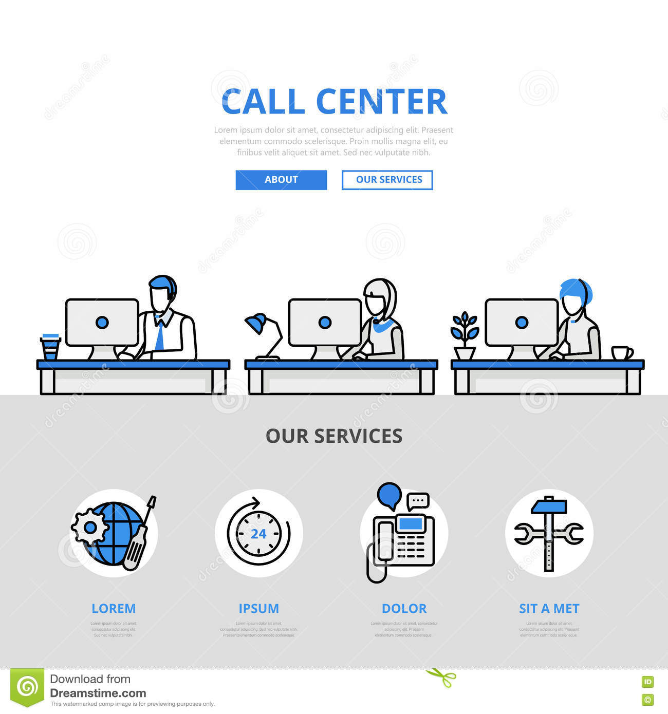 Call center user support office banner flat line art vector icon