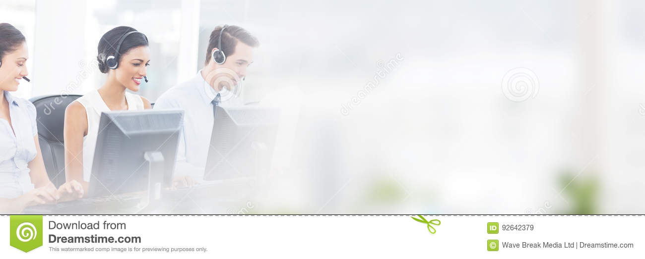 Download Call Centre Employees Smiling While Sitting Stock Image - Image of copy, assistant: 92642379
