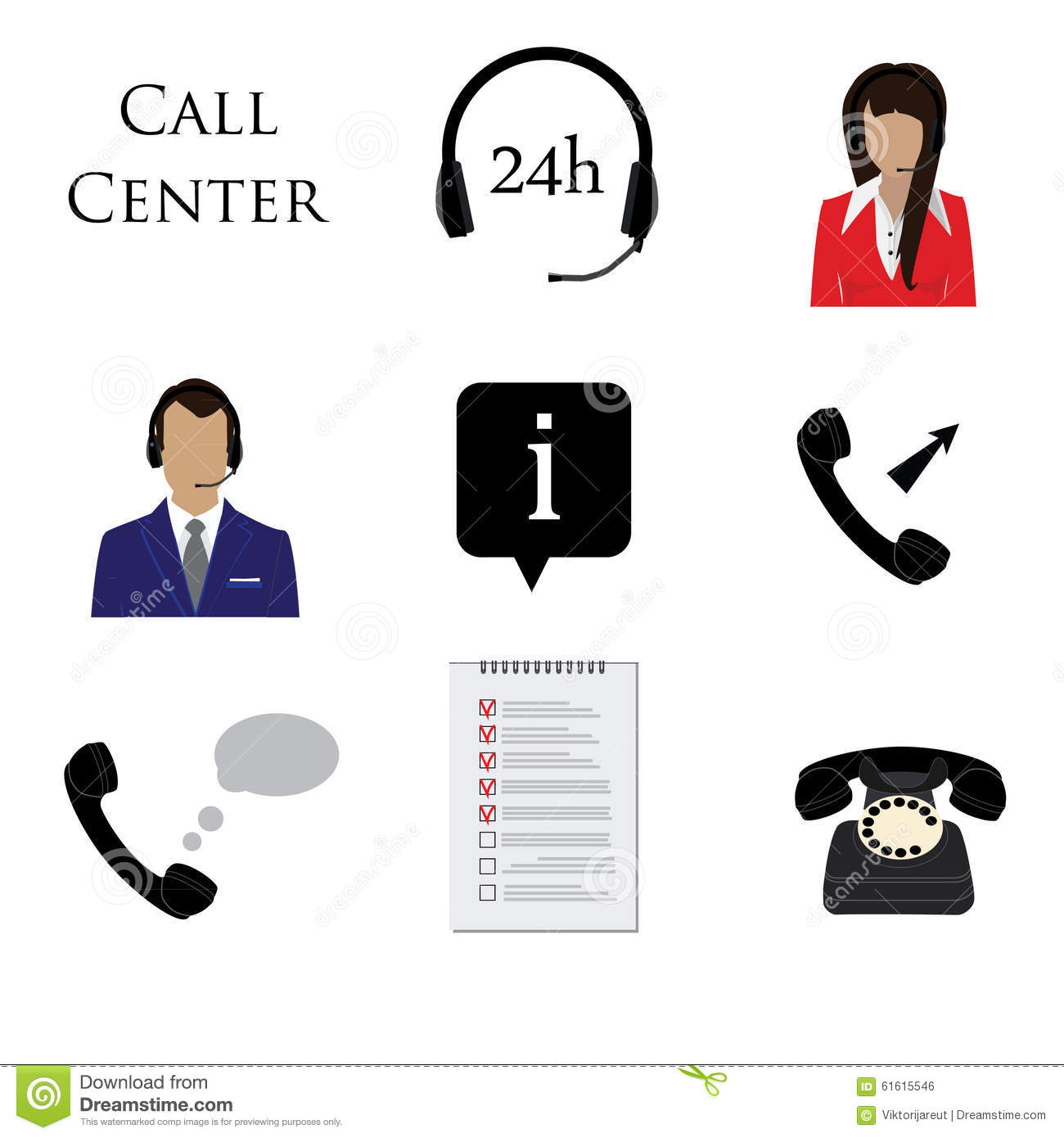call centre icon set stock illustration image 61615546