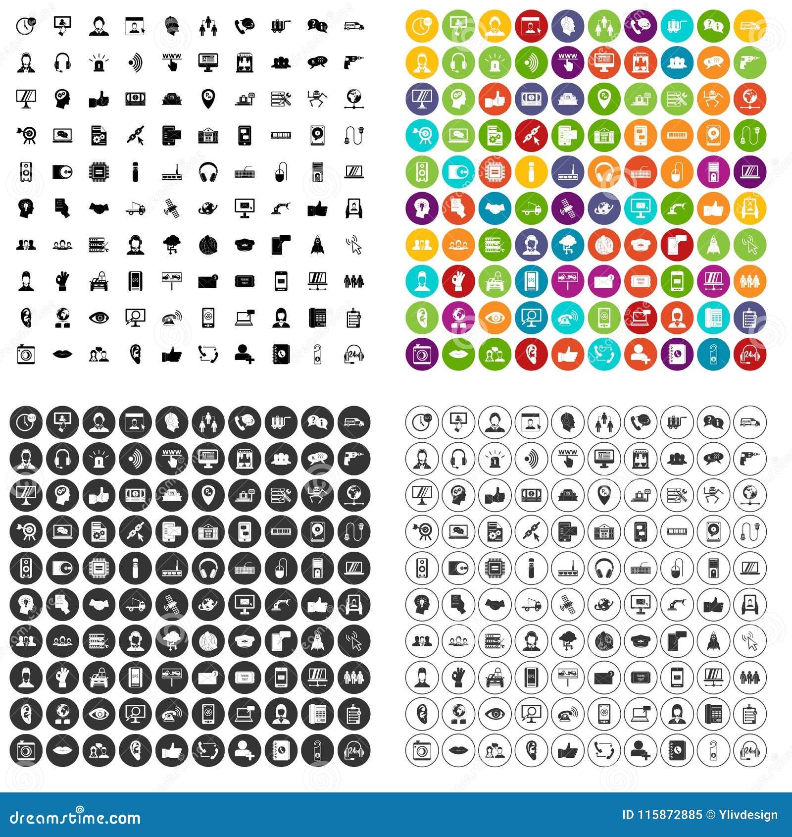 100 call centrepictogrammen geplaatst vectorvariant