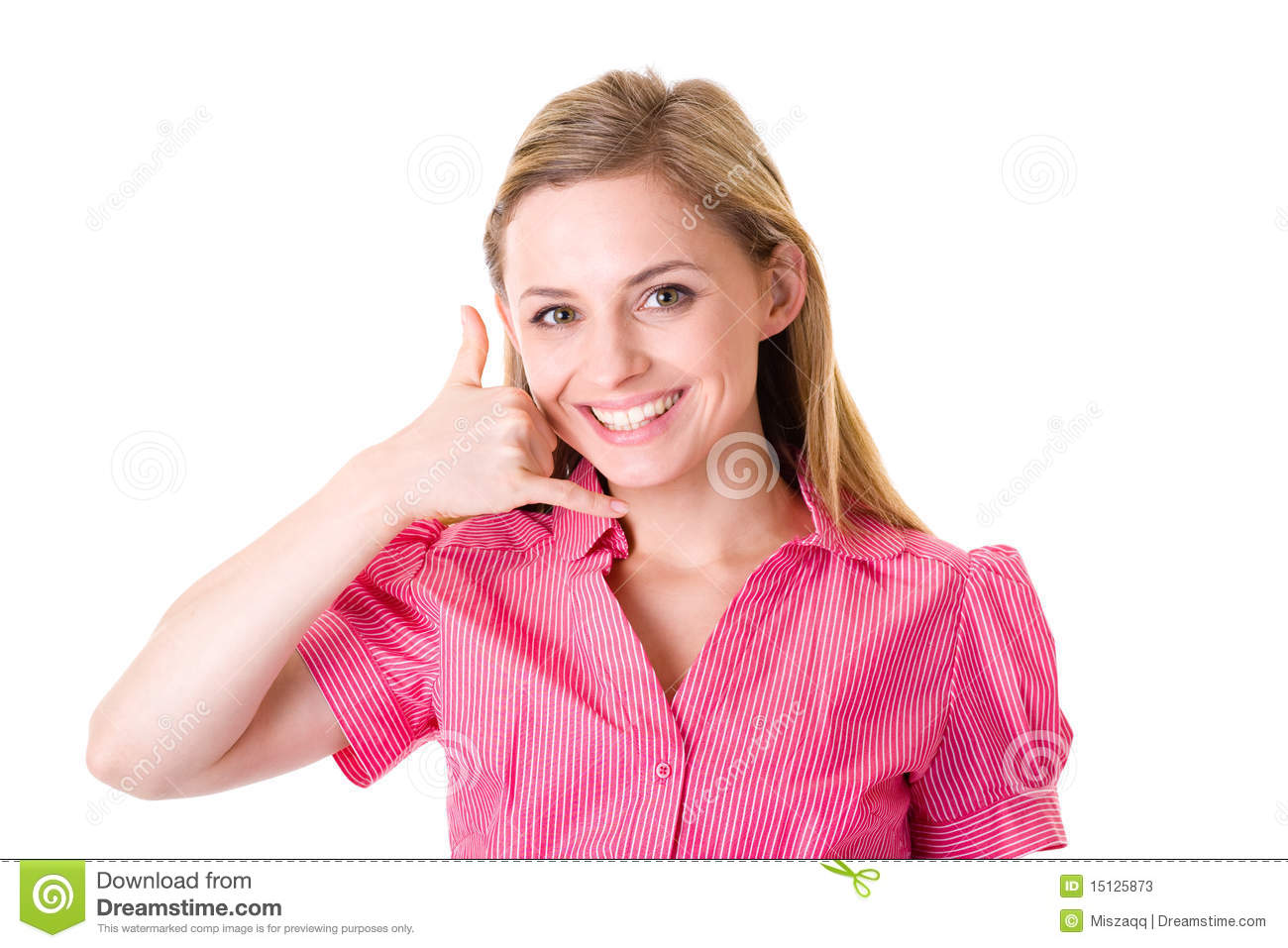 'call Me' Gesture, Attractive Female In Shirt Stock Photos ...