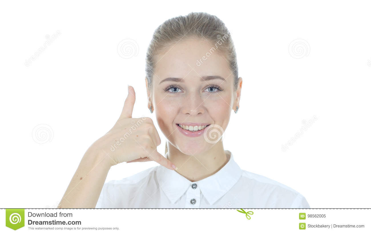 Call me Gesture by Woman , join me, help line, White Background