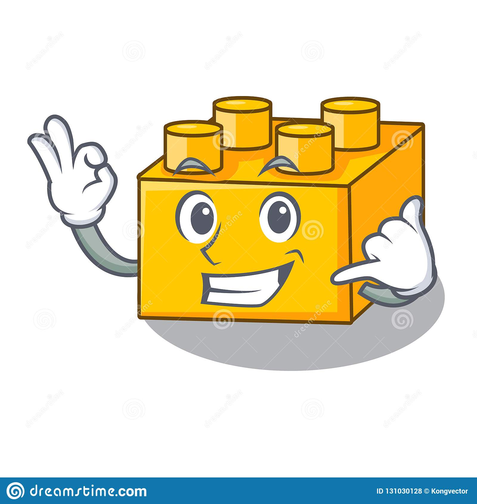 Call Me Plastic Building Tyos Shaped On Mascot Stock Vector