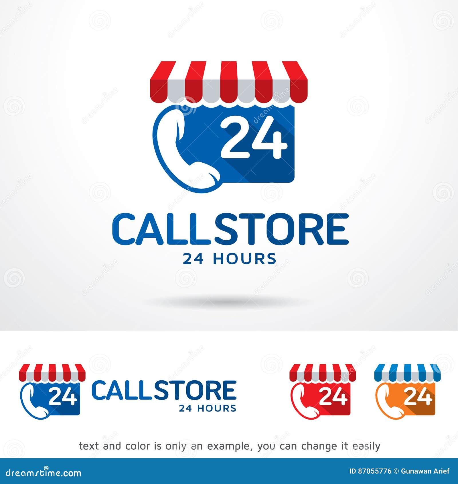 Call Store 24 Hours Logo Template Design Vector Stock Vector