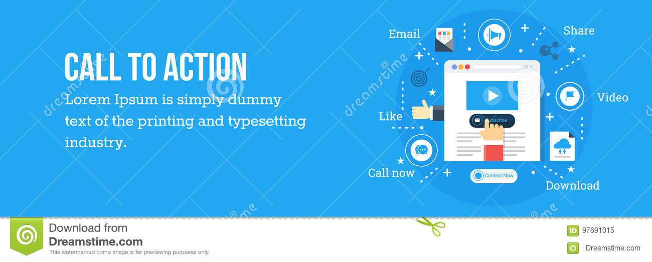 Call To Action Cta Optimization Flat Design Web Banner Stock Vector Illustration Of Commercial Computer 97691015