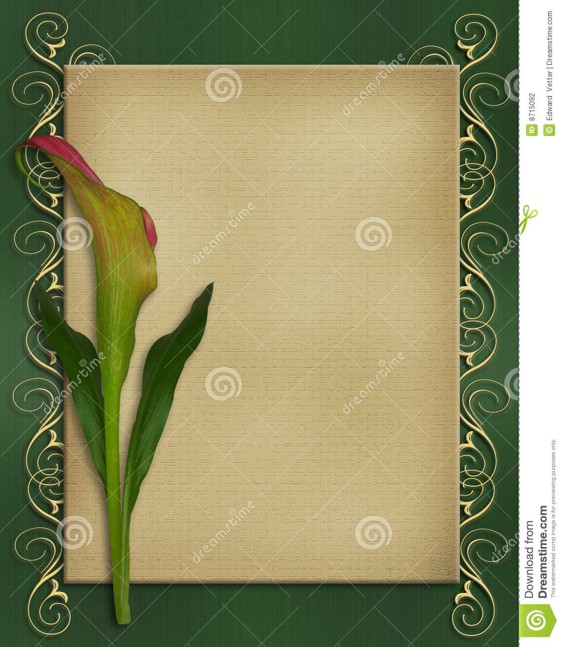 Calla Lily Invitation Card Template Stock Illustration