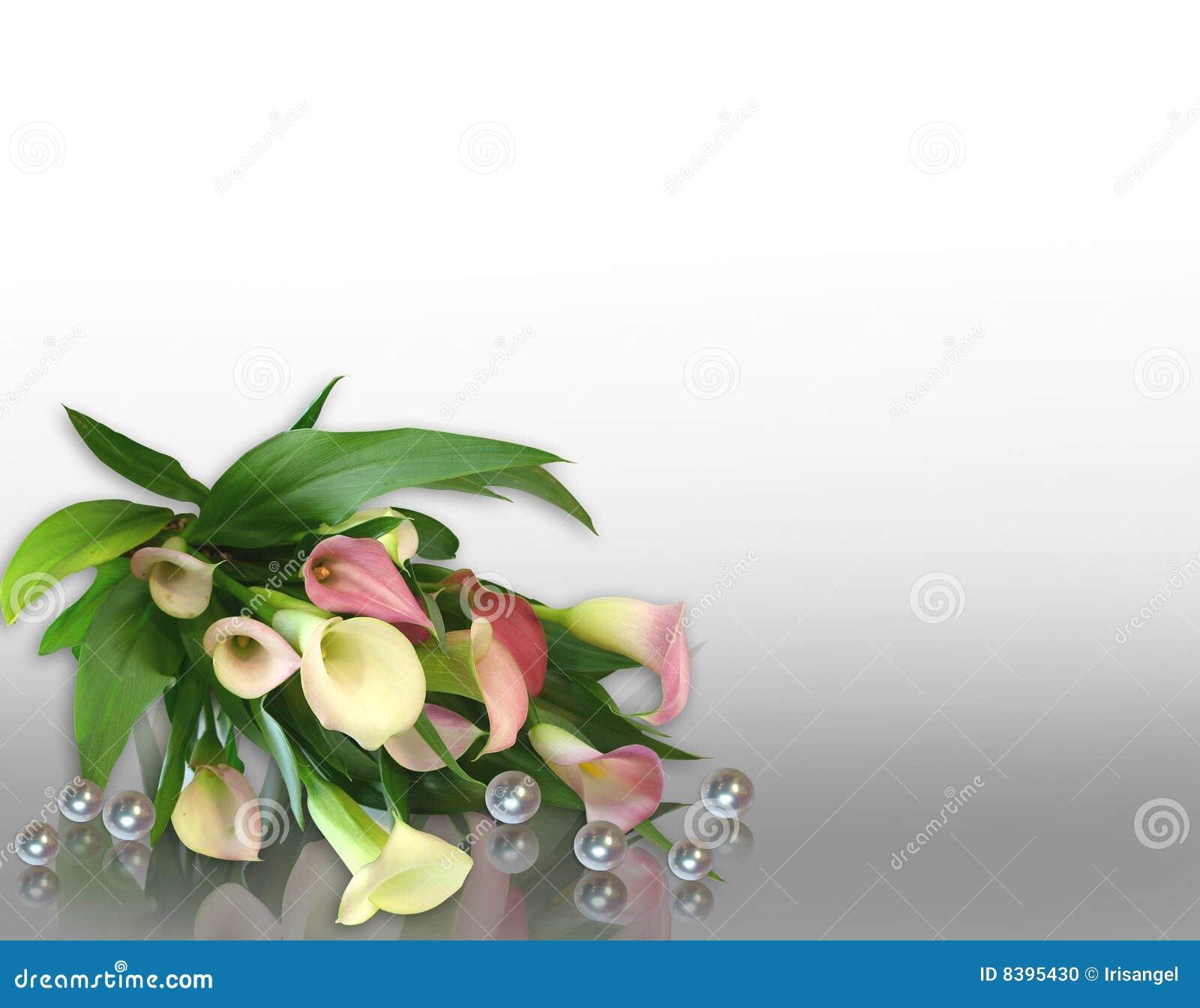 Beautiful Birthday Border Calla Frame Invitation Lilies Lily Pearls Pink  Wedding ...