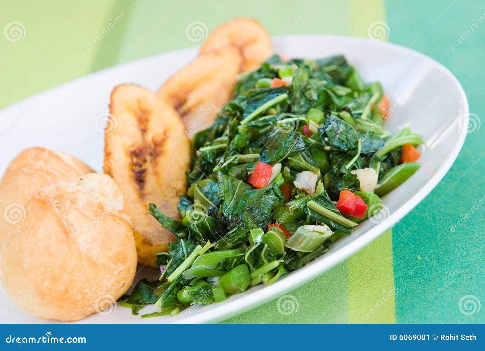Callaloo Gemüse Und Mehlklöße - Karibische Str. Stockbild - Bild von ...