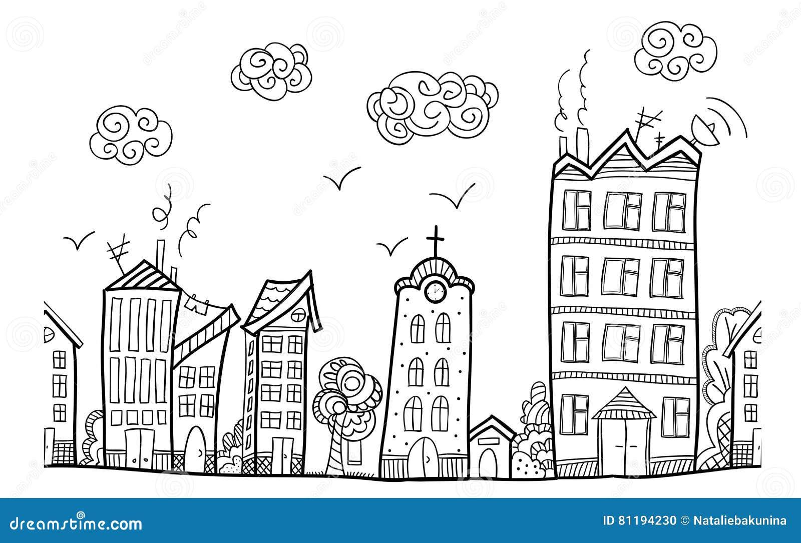 calle de la ciudad ornamento repetido ilustraci n del. Black Bedroom Furniture Sets. Home Design Ideas