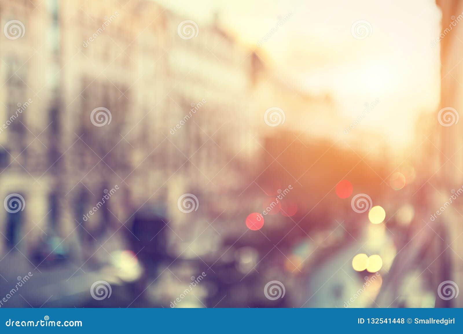 Calle de París, Francia Fondo borroso de la ciudad