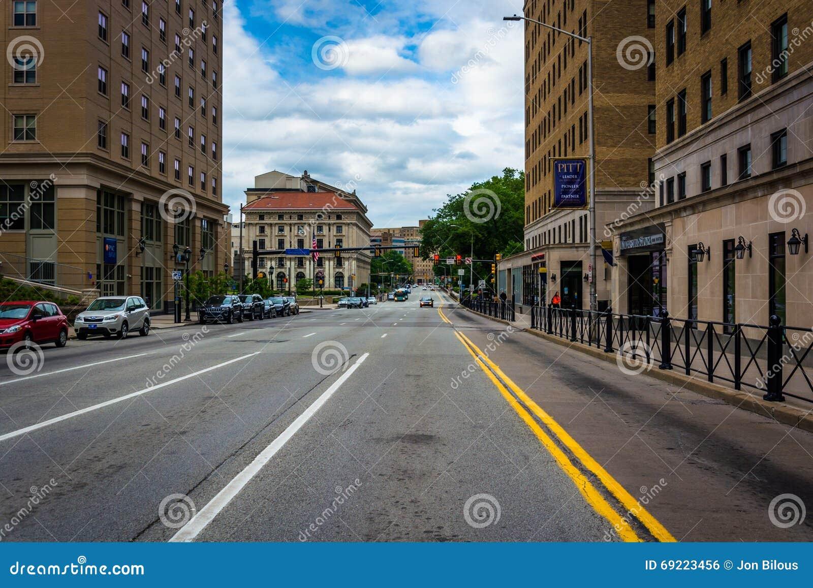 Calle en la universidad de Pittsburgh, en Pittsburgh, Pennsylva