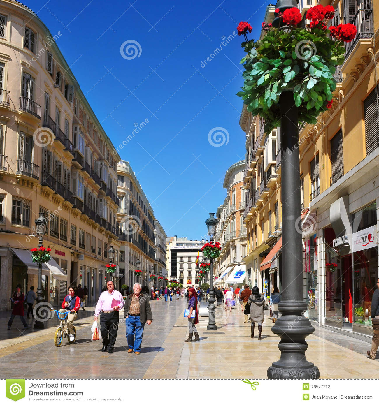 calle larios in malaga spain editorial photography image 28577712. Black Bedroom Furniture Sets. Home Design Ideas