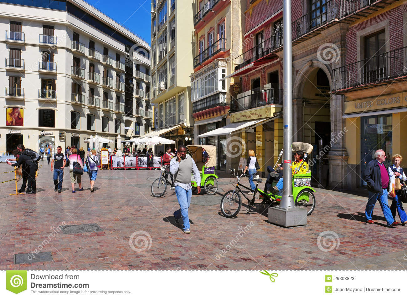 calle larios in malaga spain editorial stock photo image 29308823. Black Bedroom Furniture Sets. Home Design Ideas