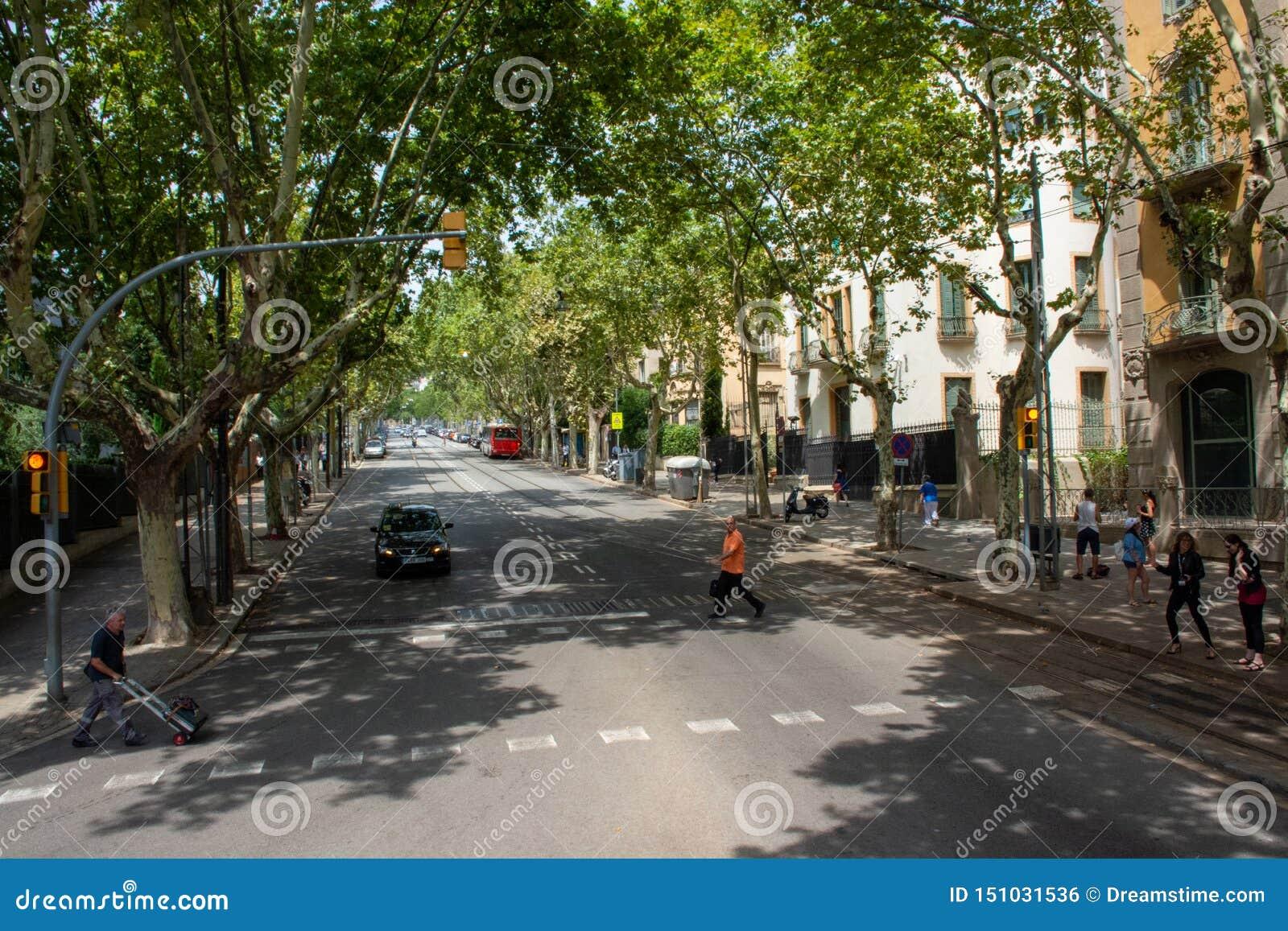 Calle muy transitada con los peatones que esperan para cruzar el camino de Barcelona