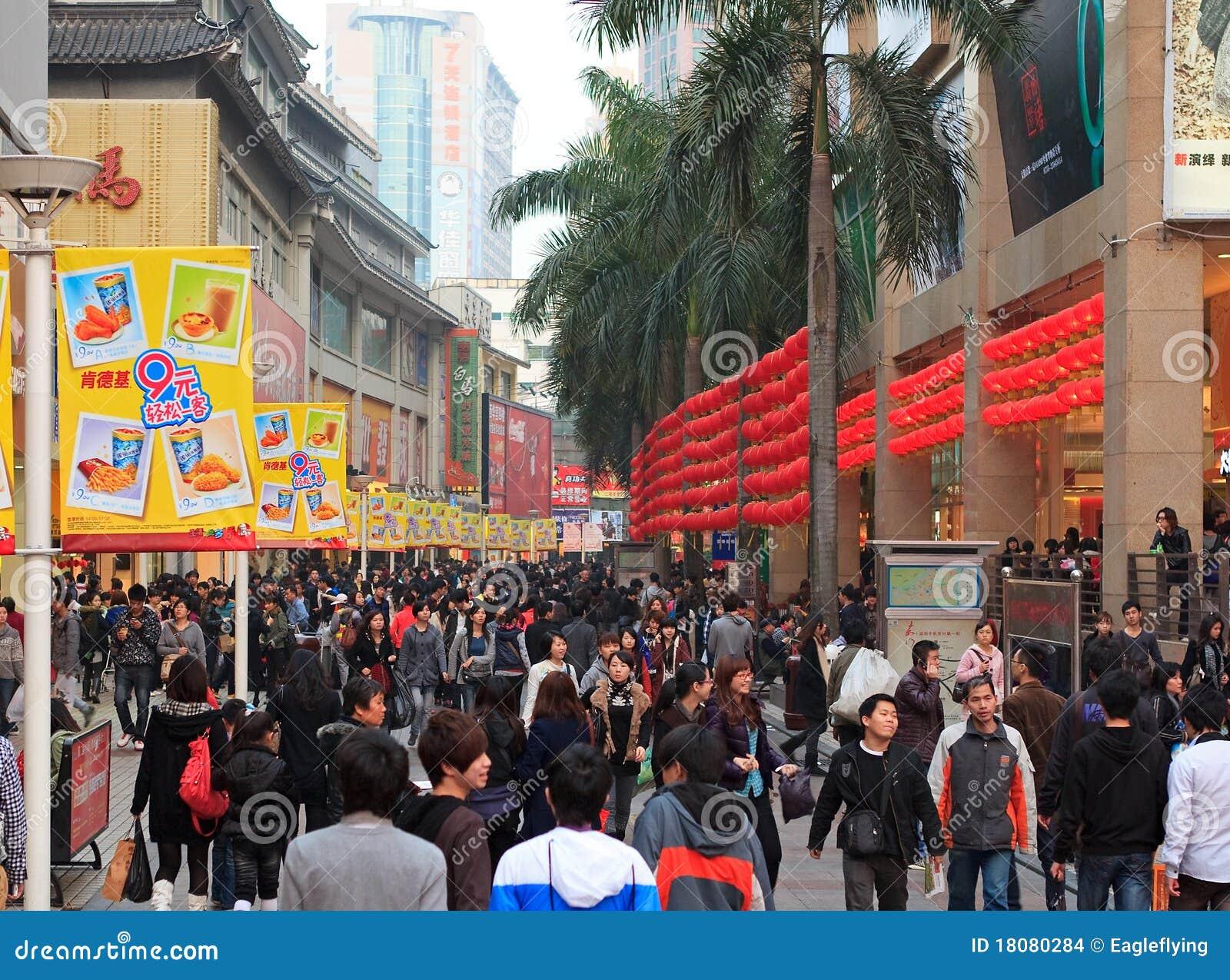 Calle peatonal de Dongmen en Shenzhen, China