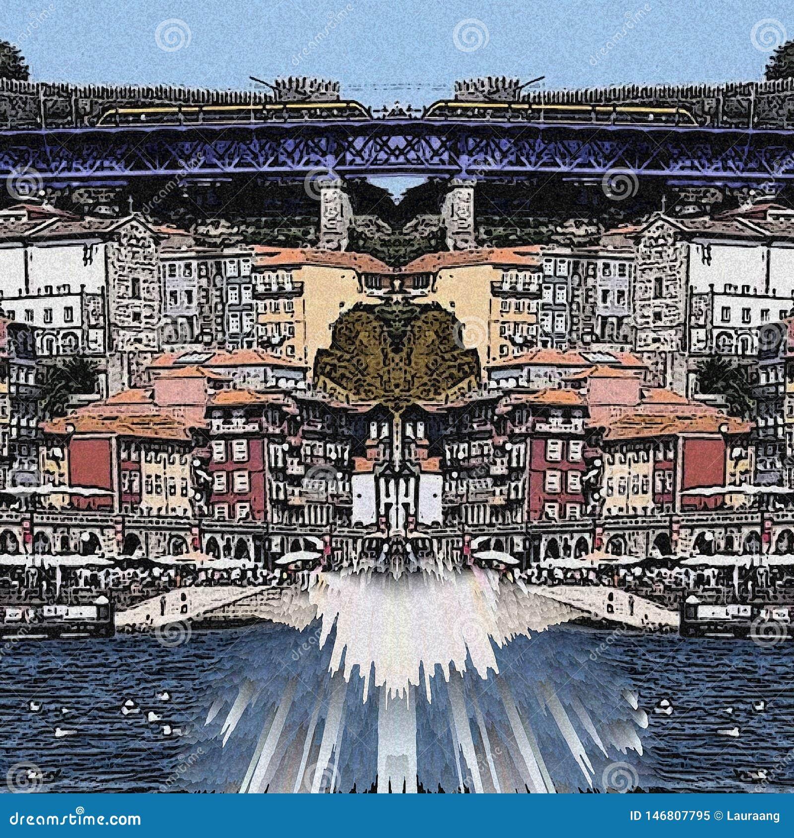 Calle y puente abstractos de Oporto con color azul