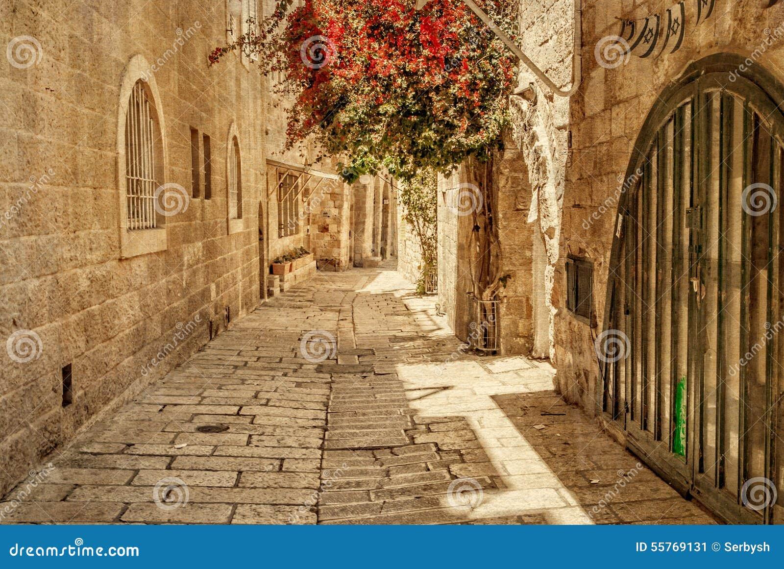Callejón antiguo en el cuarto judío, Jerusalén