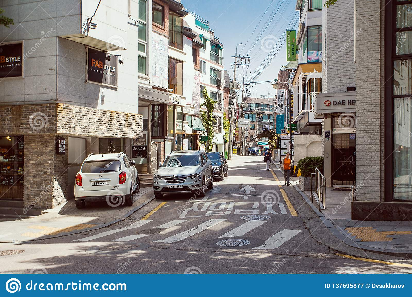 Calles famosas del área de Garosu-gil en Gangnam, Seúl