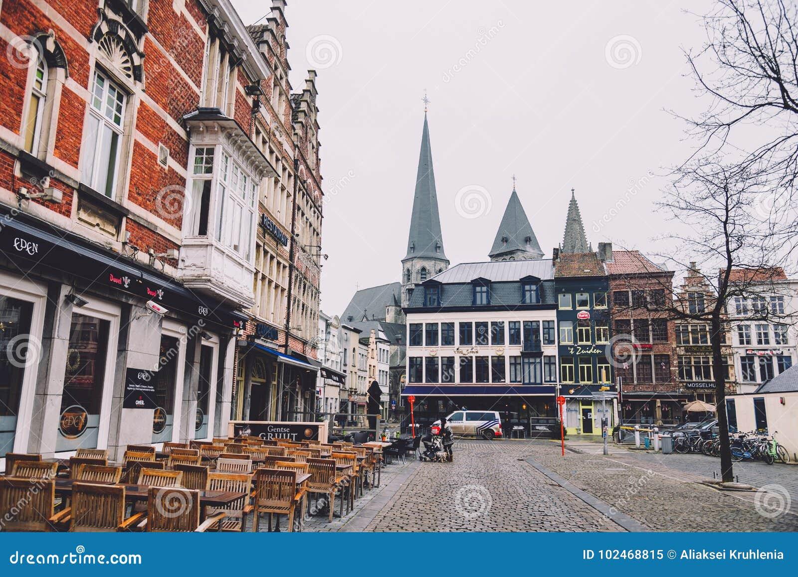 Calles Vacías De Gante En Bélgica Imagen Editorial Imagen De Ciudad Gante 102468815