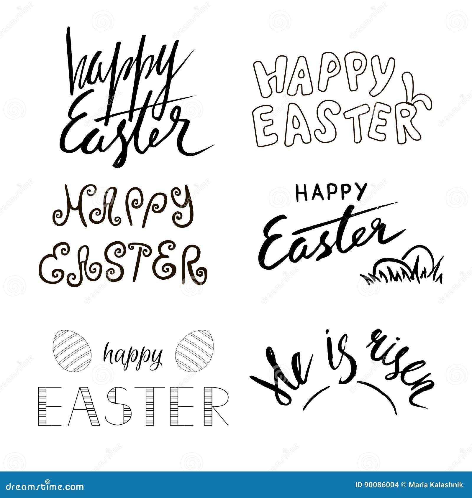 Calligrafia Scritta Mano Di Pasqua Testo Disegnato A Mano Motivo