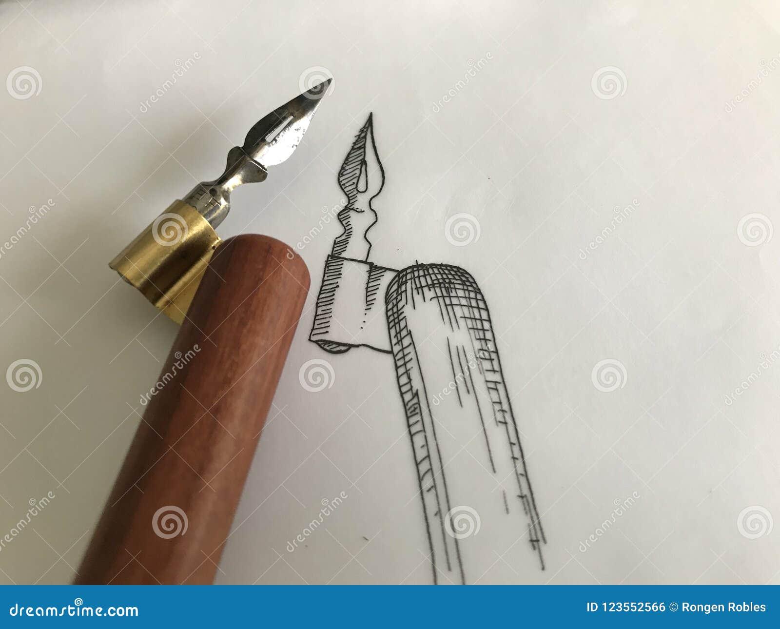 obliquo pen  Calligrafia Tradizionale Pen Drawing Sketch Obliquo Fotografia Stock ...