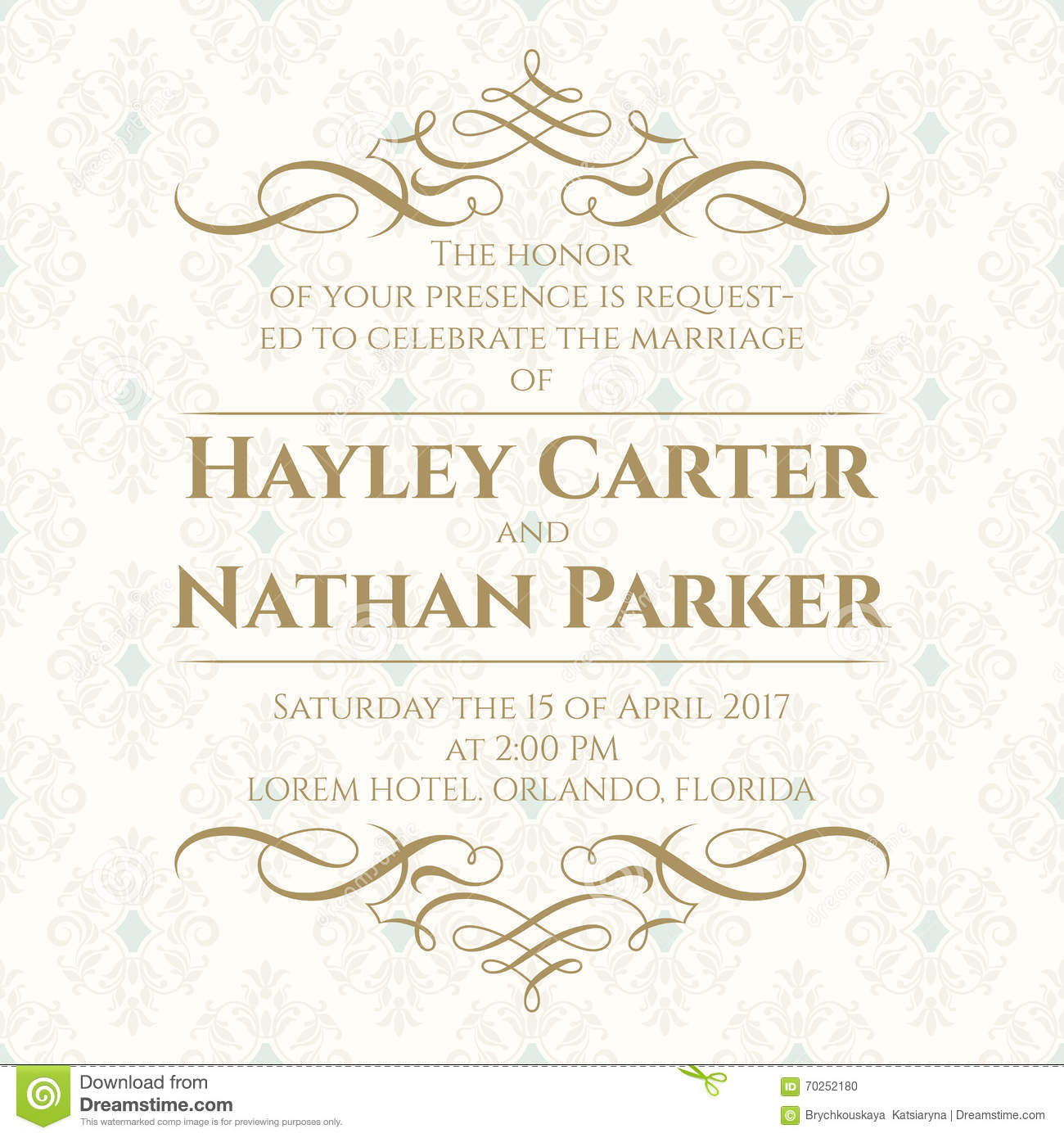 Calligraphic Border And Seamless Classic Background. Wedding ...
