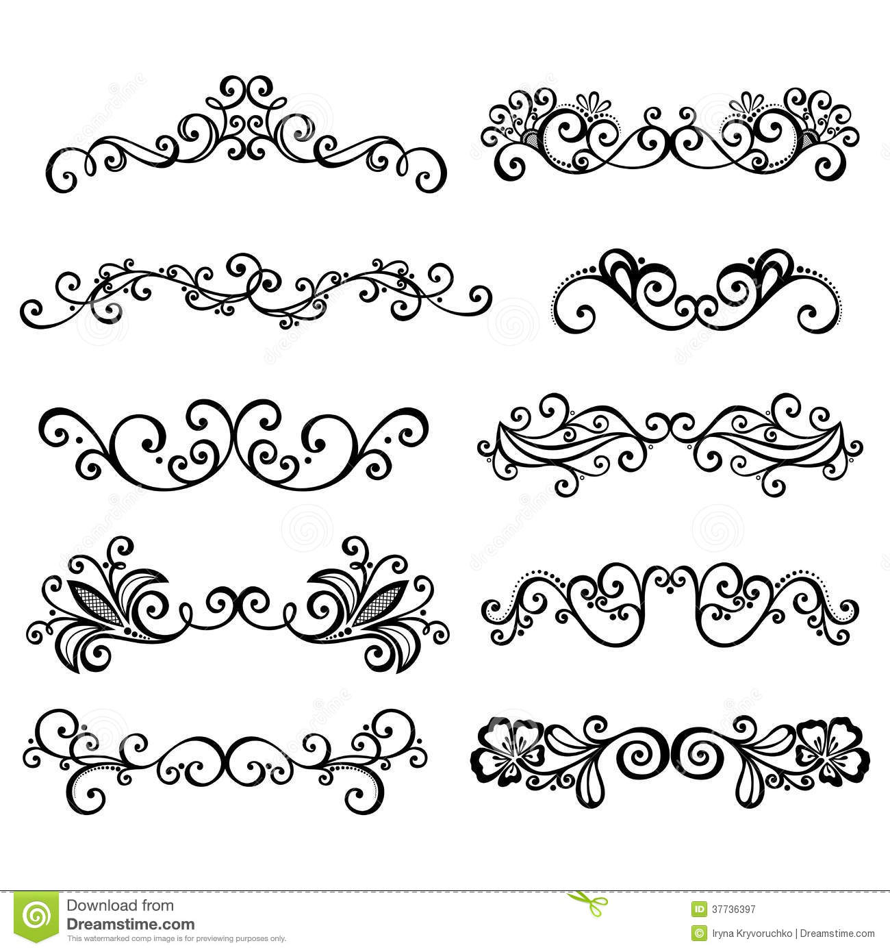 Calligraphic Borders Anctor D Page Decoration Stock Vector