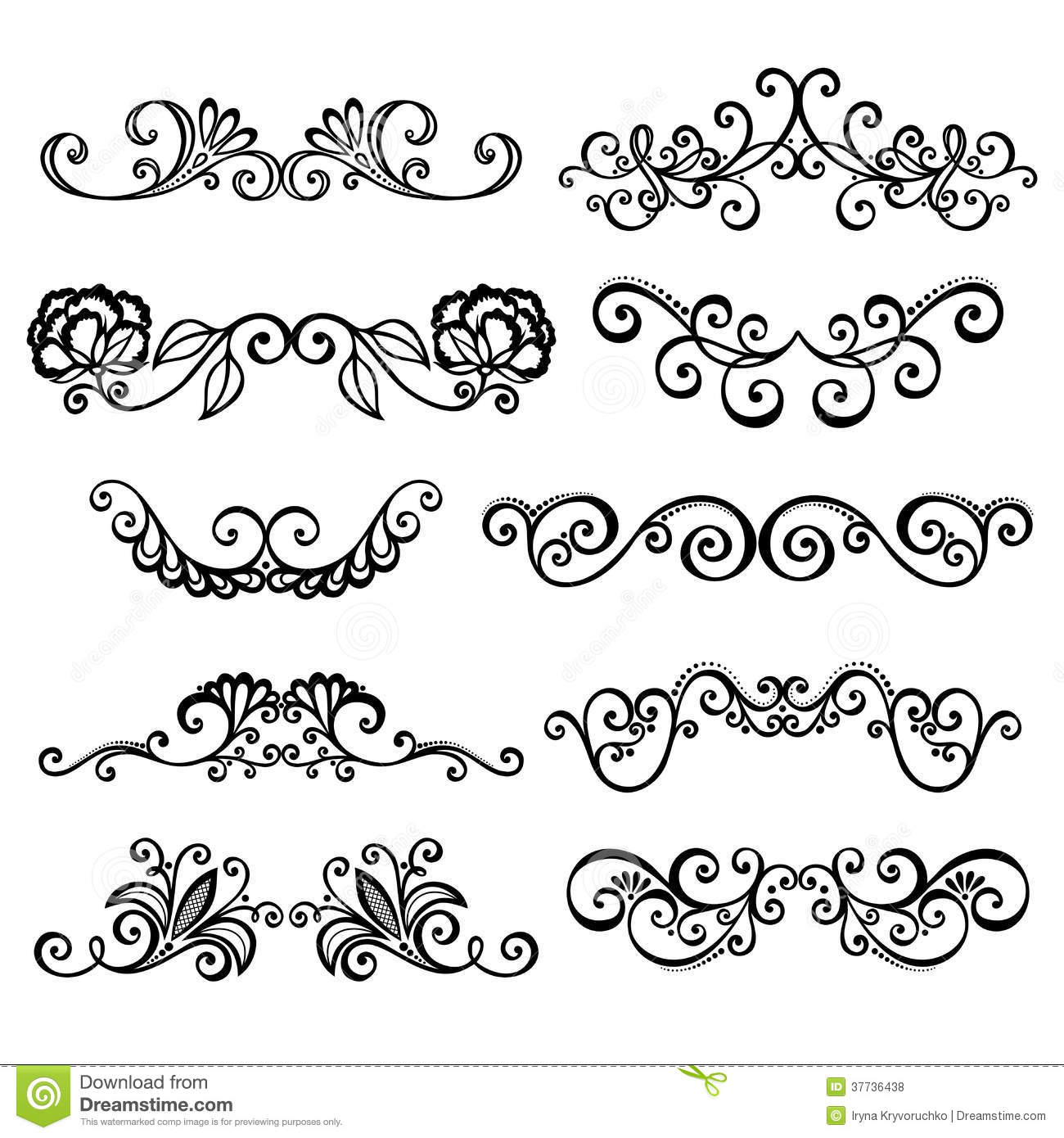 Calligraphic Borders Anctor D Page Decoration Royalty Free Stock Photos - Image: 37736438