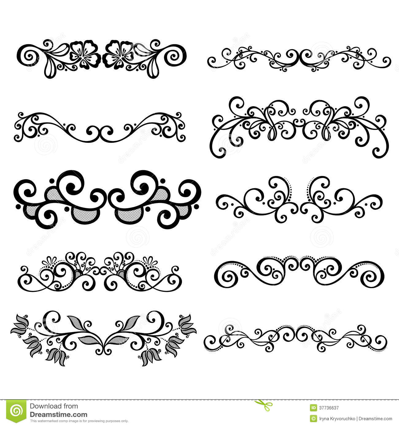 Calligraphic Borders Anctor D Page Decoration Royalty Free