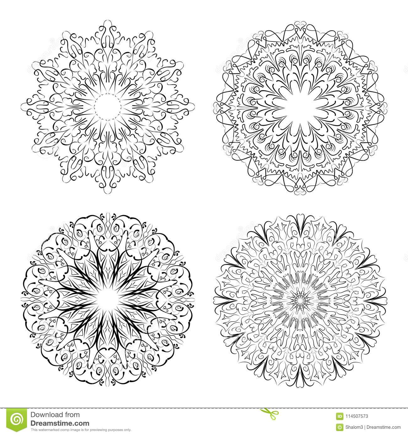 Calligraphic Circle Lace Patterns In Monochrome Design. Embroidery ...