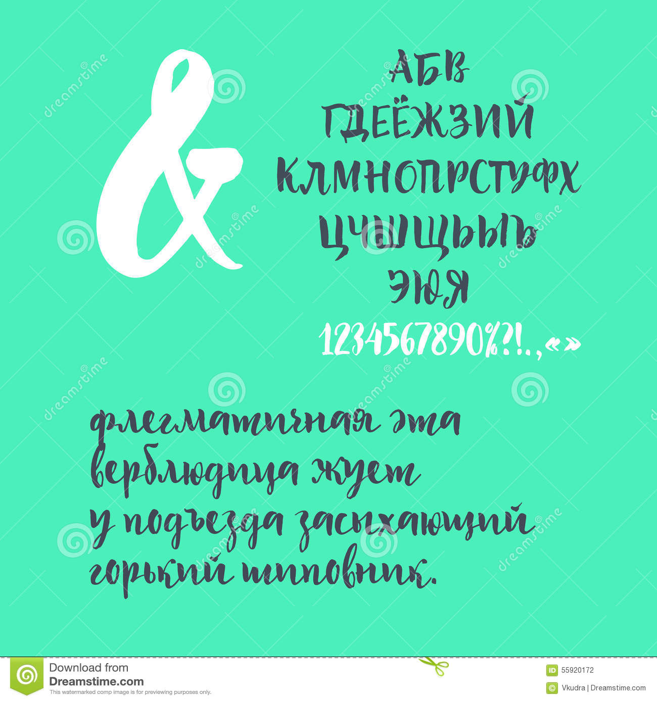 Calligraphic cyrillic font stock vector  Illustration of