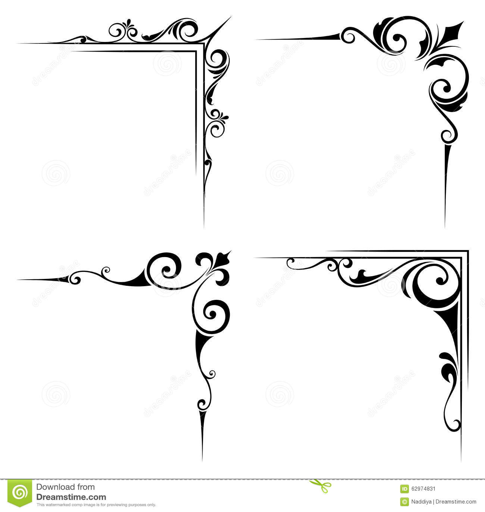 Calligraphic Decorative Black Corner Elements. Vector ...