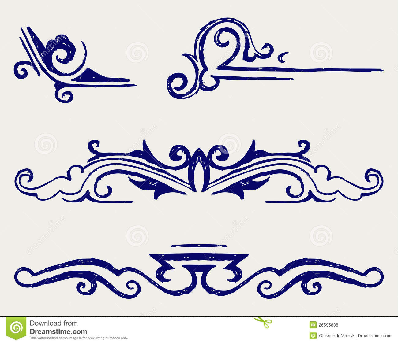 Calligraphic Design Element Doodle Style Baroque Decorative