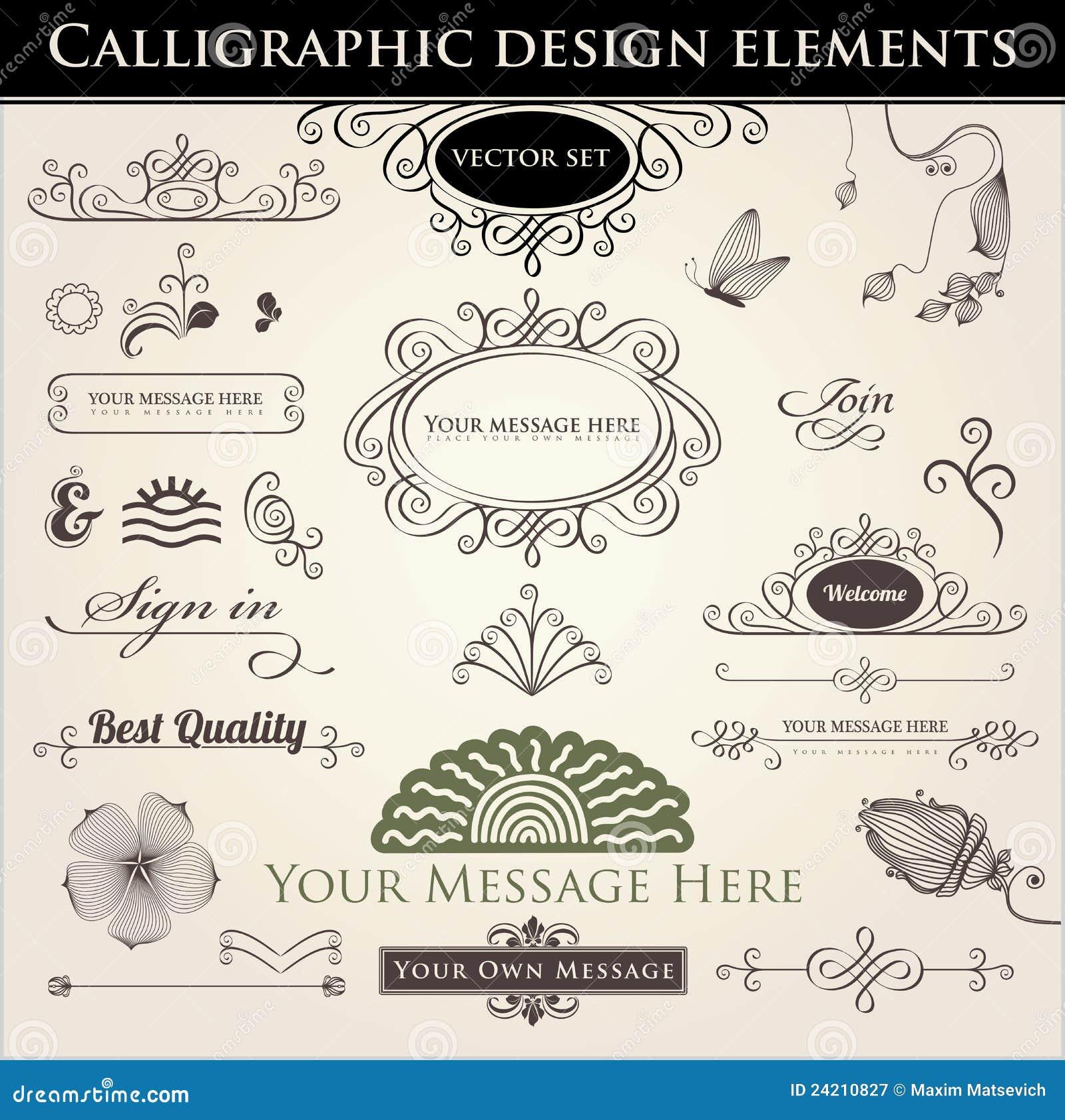 Calligraphic design elements royalty free stock